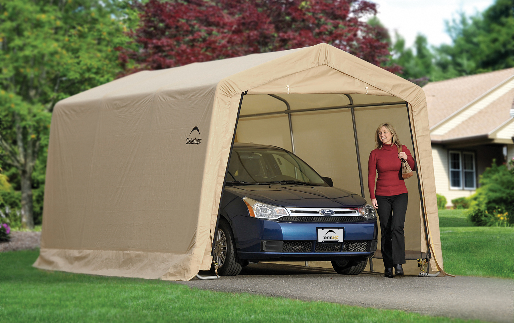 AutoShelter® 10x15 Peak Roof Portable Garage | Creative ...