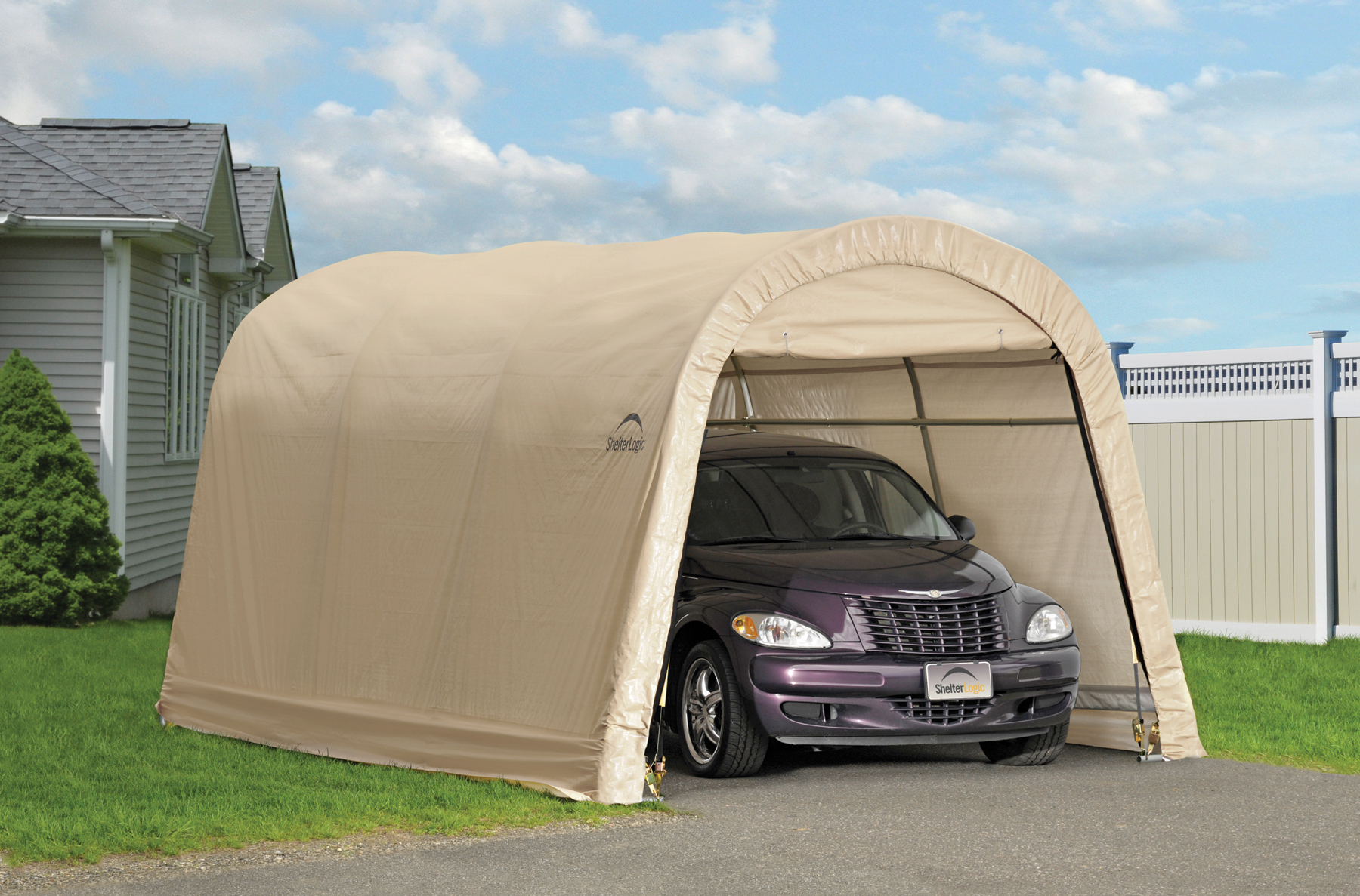 Portable Carport With Shed : Autoshelter roundtop portable garage creative
