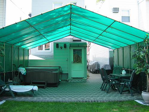 Patio Cover Thanks To Nancy Of New York Who Sent These Photos Their 20ft X Constructed With Chain Link Fence Tubing And Creative